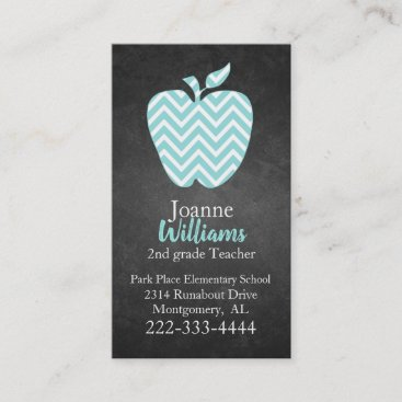Chevron Apple on Chalkboard Teachers Business Card