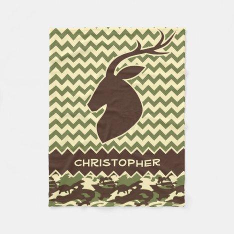 Chevron Deer Buck Camouflage Add Name Fleece Blanket