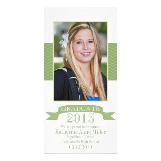 Chevron Green Graduation Photo Card