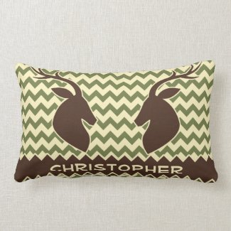 Chevron Pattern Buck Camouflage Monogram Pillow