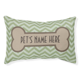 Chevron Pet Bone Personalized Green Dog Pillow Bed Small Dog Bed