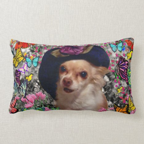 Chi Chi in Butterflies  - Chihuahua Puppy in Hat Lumbar Pillow