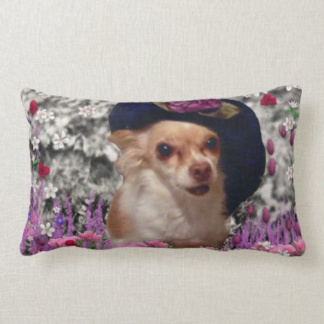 Chi Chi in Flowers  - Chihuahua Puppy in Cute Hat Lumbar Pillow