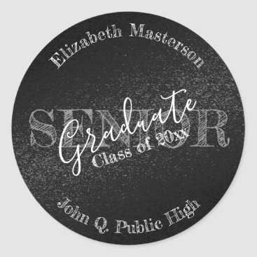Chic Black Graduation Graduate Senior Class Classic Round Sticker