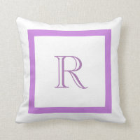 Chic Classic Purple & White Monogrammed Pillows