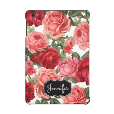 Chic Elegant Vintage Pink Red roses floral name iPad Mini Retina Case