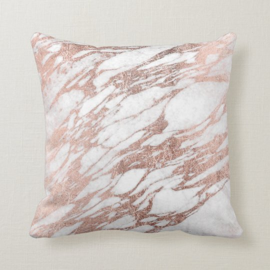 Chic Elegant White and Rose Gold Marble Pattern Throw