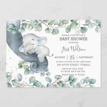Chic Elephant Leafy Greenery Baby Shower Boy Invitation
