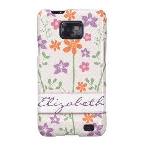 Chic Floral Pattern Design Monogram Samsung Galaxy S2 Cases