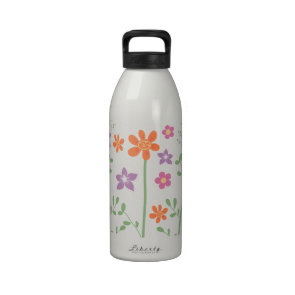Chic Floral Pattern Design Monogram Drinking Bottle