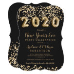 Chic gold confetti balloons New Year's eve 2020 Invitation