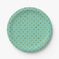 Chic Gold Glam and Mint Polka Dots Paper Plate | Zazzle
