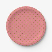 Chic Gold Glam and Pink Polka Dots Paper Plate | Zazzle