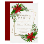 Chic gold typography floral marsala red Christmas Invitation