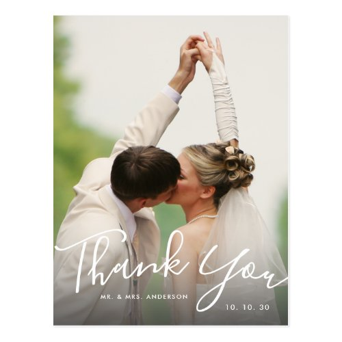 Chic Hand Lettered Script Photo Wedding Thank You Postcard