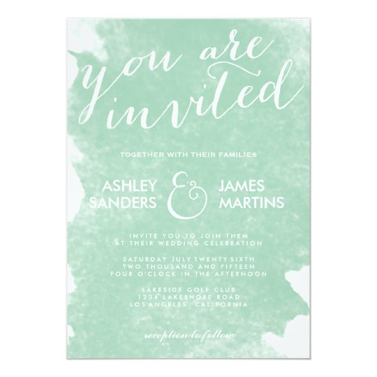 Chic Mint Green Watercolor Wedding Invitation