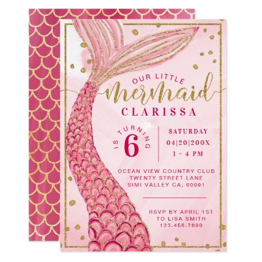 Chic Pink Gold Little Mermaid Birthday Invitation