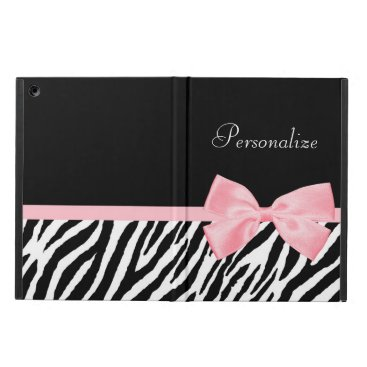 Chic Zebra Print Soft Girly Light Pink Ribbon Cover For iPad Air