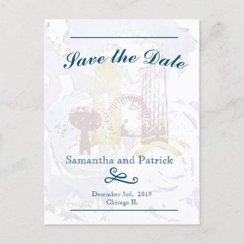 Chicago Skyline Pastel Save the Dates Card