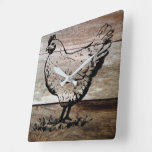 Chicken etched into wood square wall clock