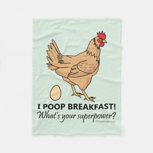 Chicken Poops Breakfast Funny Design Blue Fleece Blanket