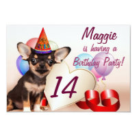 Chihuahua dog birthday party invitation