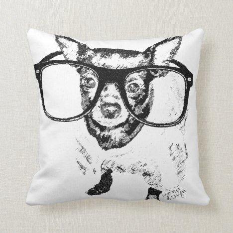 Chihuahua Dog Illustration Drawing Throw Pillow