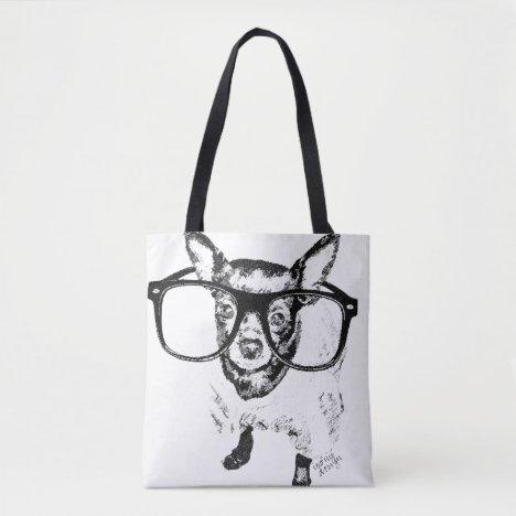 Chihuahua Dog Illustration Drawing Tote Bag