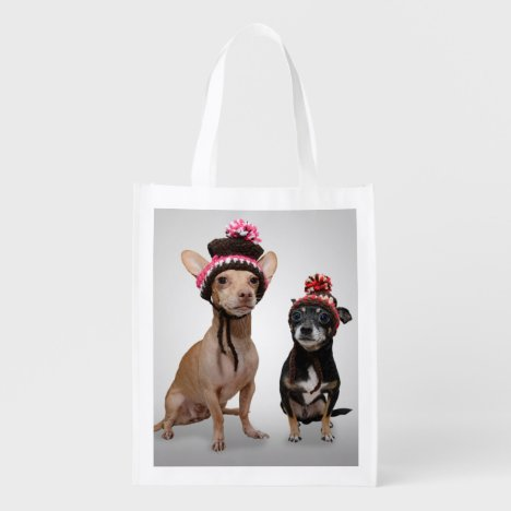 Chihuahua Dogs With Hats Photo Reusable Grocery Bag