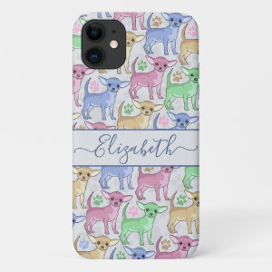 Chihuahua Lover Colorful Pattern Add Name iPhone 11 Case