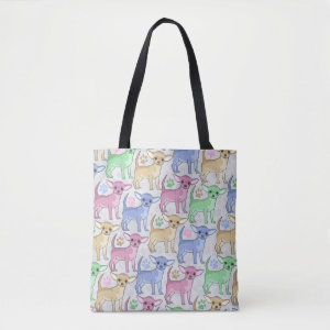 Chihuahua Lover Colorful Pattern Tote Bag