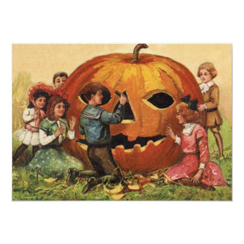 Children Carving Jack O Lantern Pumpkin Invitation