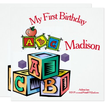 childrens first baby birthday invitation