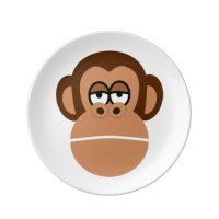 Chimpanzee cartoon dinner plate | Zazzle