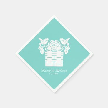 Chinese Love Birds Double Happiness Symbol Napkin