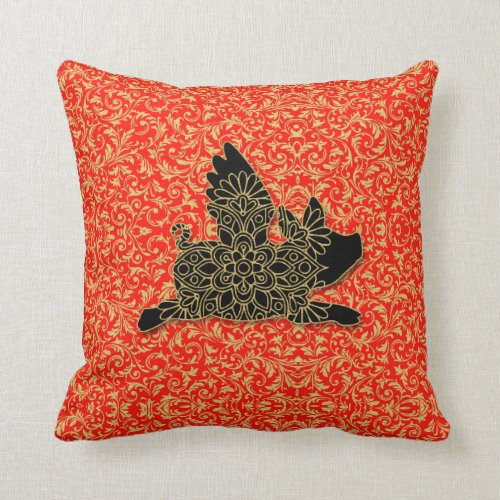 Chinese Pig Flying Silhouette Red Throw Pillow