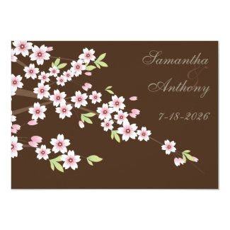 Chocolate Brown and Cherry Blossom Wedding 5x7 Paper Invitation Card