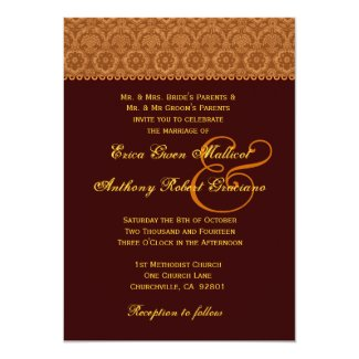 Chocolate Gold Vintage Damask Wedding Monogram 5x7 Paper Invitation Card
