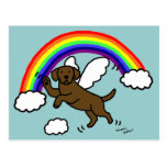 ❤️ Chocolate Labrador Guardian Angel (Rainbow Bridge) Postcard