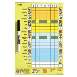 Chore/Schedule Chart for Preschooler Dry-Erase Board
