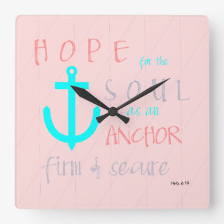 Christian Bible Verse Hope for the Soul Square Wall Clock