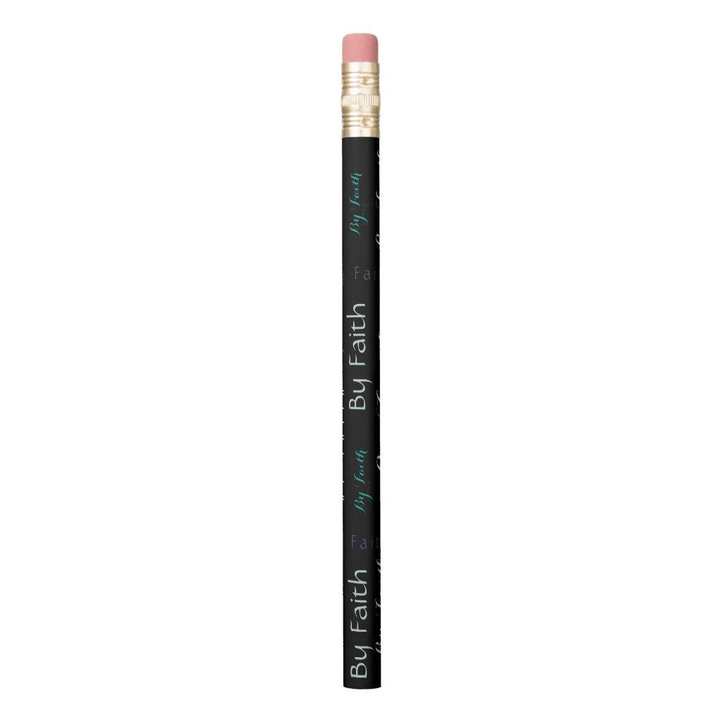 By Faith Word Cloud Pencil