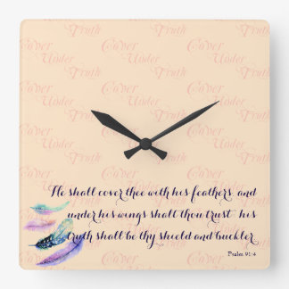 Christian HE SHALL COVER THEE Square Wall Clock