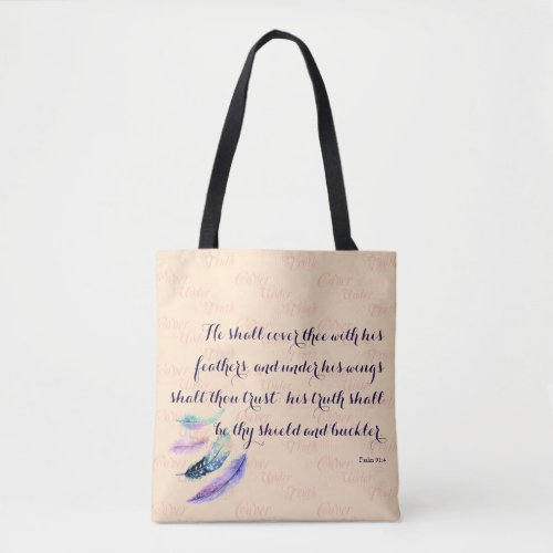 Christian HE SHALL COVER THEE Tote Bag