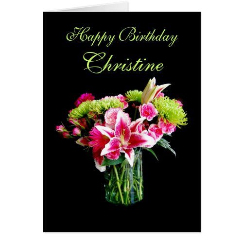 Christine Happy Birthday, Stargazer Lily Bouquet