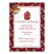 Christmas Candy Cane Cupcake Exchange Invitation
