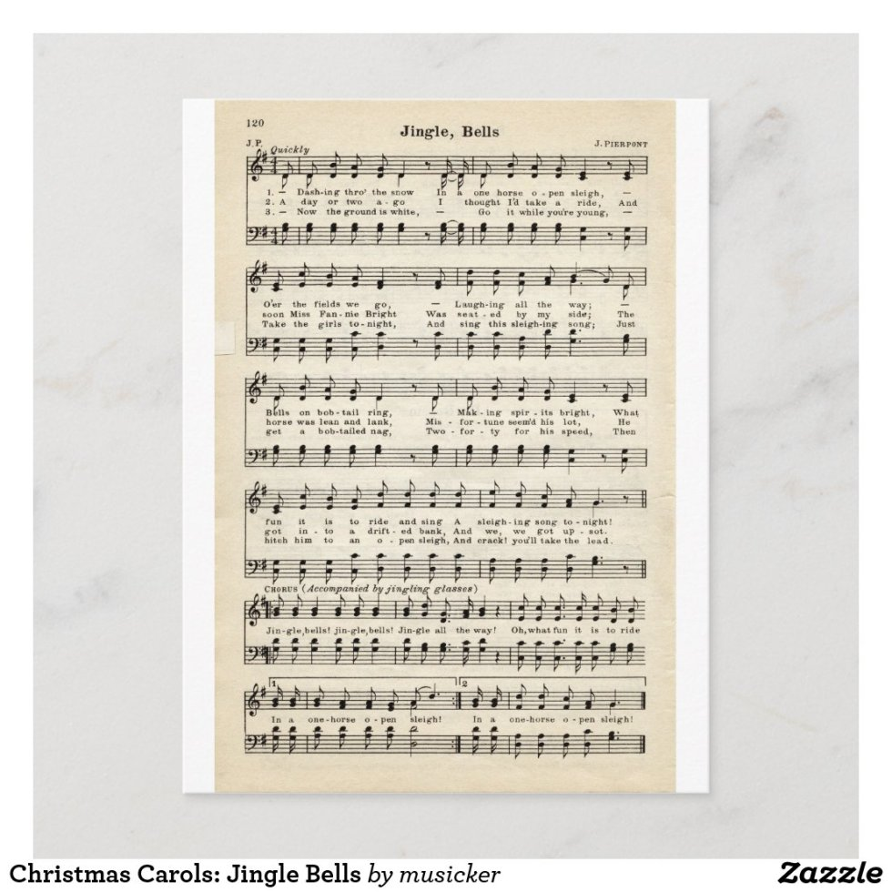 Christmas Carols: Jingle Bells Holiday Postcard