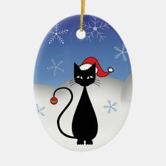 Snowy Black Christmas Cat