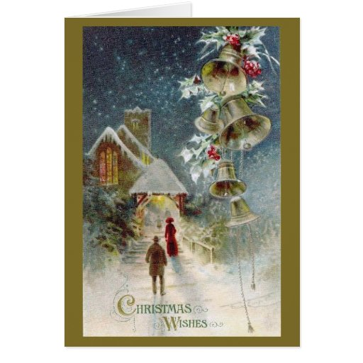 Christmas Church And Bells Card Zazzle