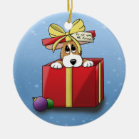 Christmas Corgi Puppy Ornament (One Sided)